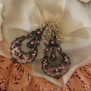 Pink Enamel Vintage Earrings